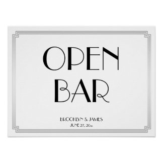 Art Deco Gatsby Silver Wedding Open Bar Sign 24x18