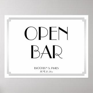 Art Deco Gatsby Silver Wedding Open Bar Sign 24x18 Poster