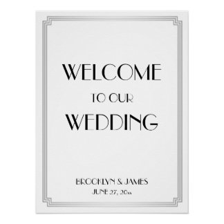 Art Deco Gatsby Silver Wedding Reception Sign Poster