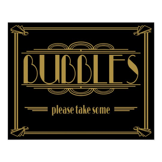 Art Deco Gatsby style Bubbles Please Take Some