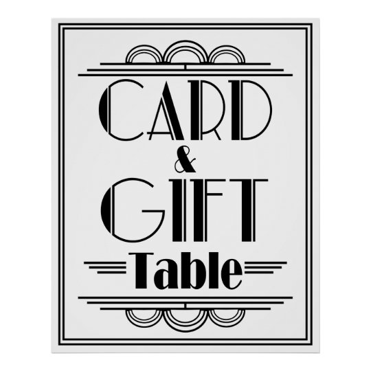 Art Deco Gatsby Style Gift &card Table Poster