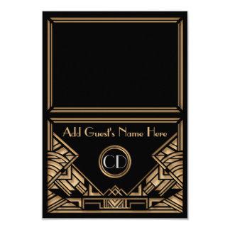 Art Deco Gatsby Style Wedding Escort Place Cards 9 Cm X 13 Cm Invitation Card