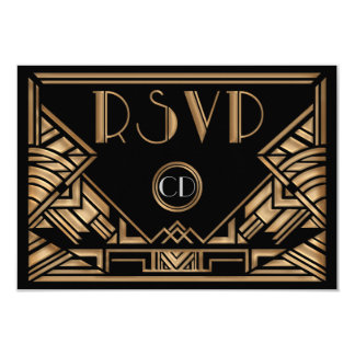 Art Deco Gatsby Style Wedding RSVP Response Cards 9 Cm X 13 Cm Invitation Card