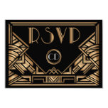 Art Deco Gatsby Style Wedding RSVP Response Cards Announcement