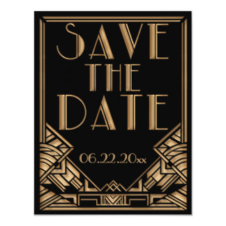 Art Deco Gatsby Style Wedding Save the Date 11 Cm X 14 Cm Invitation Card