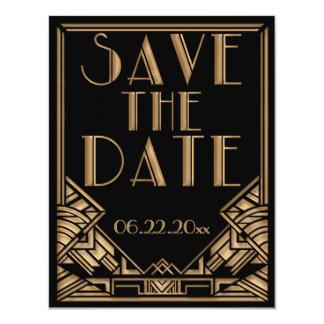 Art Deco Gatsby Style Wedding Save the Date 11 Cm X 14 Cm Invitation Card