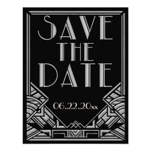 Art Deco Gatsby Style Wedding Save the Date Announcements
