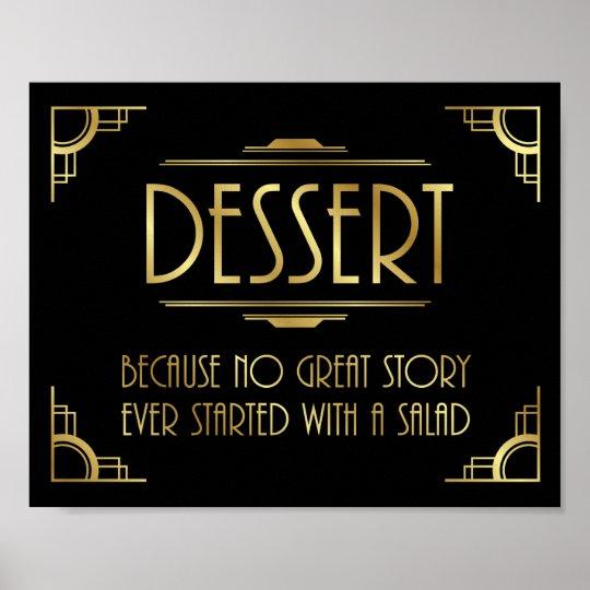 Art Deco Gatsby Wedding Print DESSERT Sign