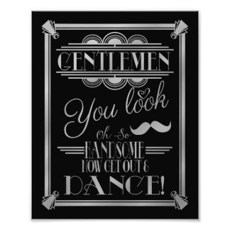 art deco, GENTLEMEN Bathroom sign, wedding sign