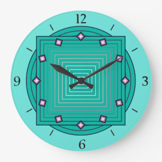 Art Deco Geometric, Aqua and Turquoise Blue Large Clock