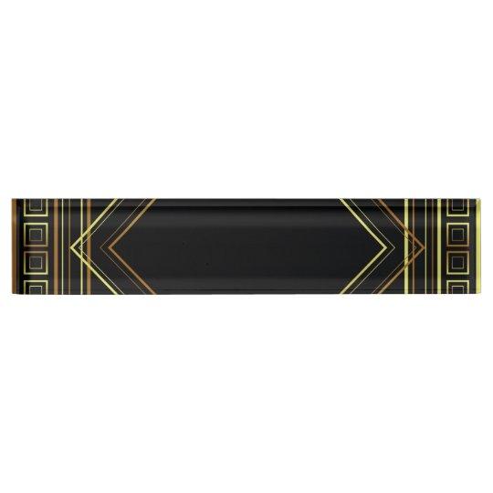 Art Deco Geometric black gold cream Desk Nameplate