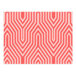 Art Deco Geometric - coral pink and shell pink Post Cards