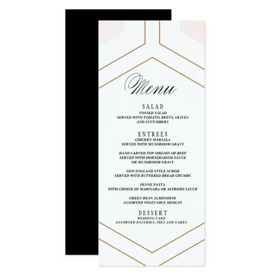 Art Deco Geometric Diamond Wedding Menu Card