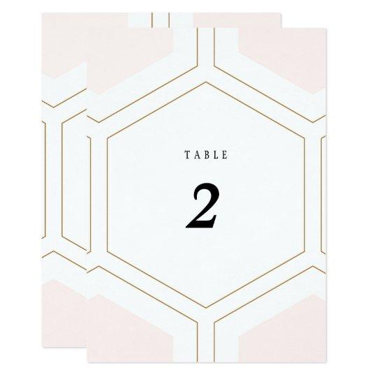 Art Deco Geometric Diamond Wedding Table Number Card