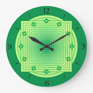 Art Deco Geometric, Emerald and Lime Green Large Clock