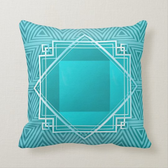 Art Deco Geometric Frame teal blue Throw Pillow