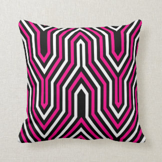 Art Deco Geometric - fuchsia pink, black and white Cushion
