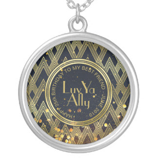 Art Deco Geometric Gold Glitter Message Monogram Silver Plated Necklace