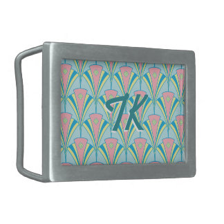 Art Deco Geometric Pastel Fan Design Belt Buckle