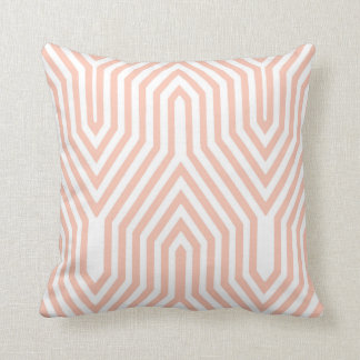Art Deco Geometric - peach pink and white Cushion