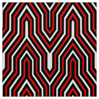Art Deco Geometric - red, black and white Fabric