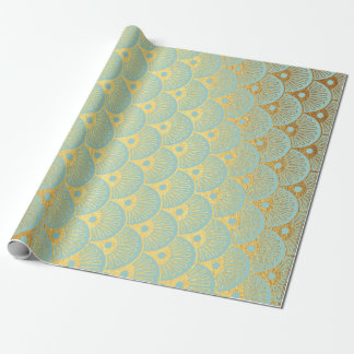 Art Deco Geometric Sea Shells Golden Mint Green Wrapping Paper