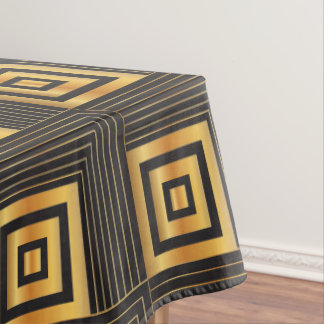 Art Deco Geometric Squares black & gold Tablecloth
