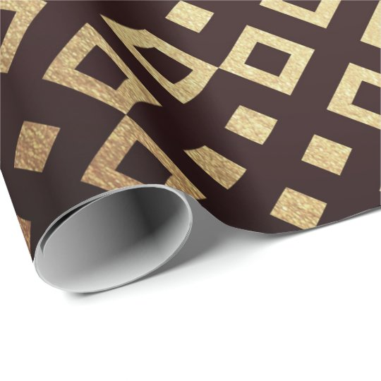 Art Deco Geometric Squares Golden Maroon Vip Wrapping