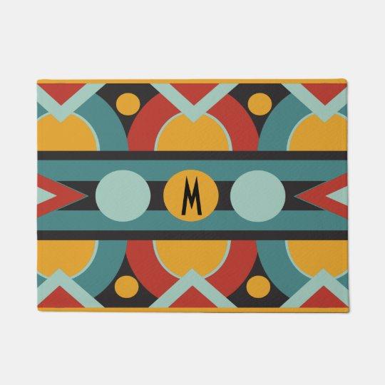 Art deco geometric with initial monogram doormat
