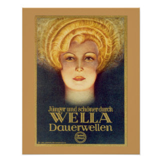 Art Deco German Ad Poster for Wella