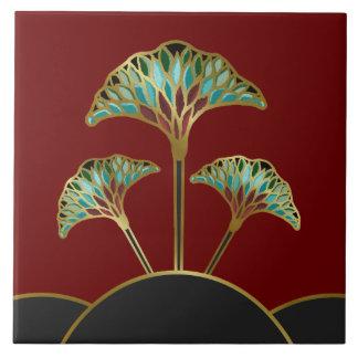 Art Deco Ginkgo Leaves Decorative Tile
