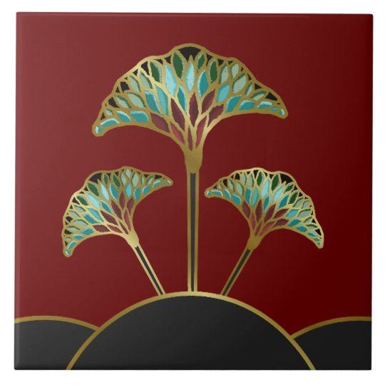 Art Deco Ginkgo Leaves Decorative Tile