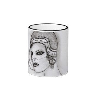 Art Deco Girl 2 Ringer Mug