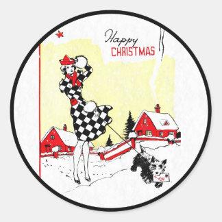 Art Deco Girl and Scotty Dog Classic Round Sticker