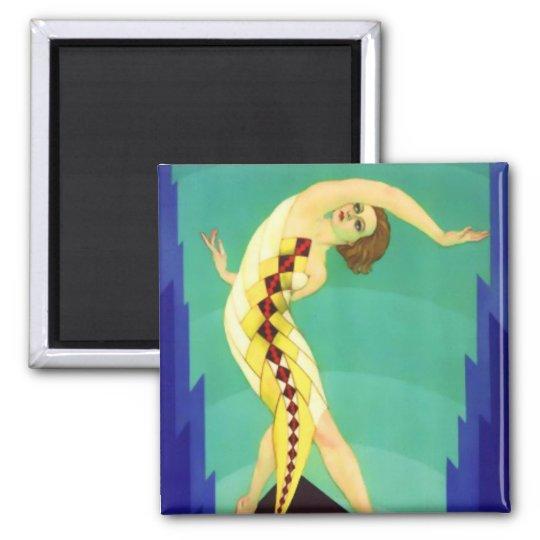 Art Deco Girl Square Magnet
