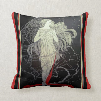 Art Deco Girl & The Spider Web Throw Pillow