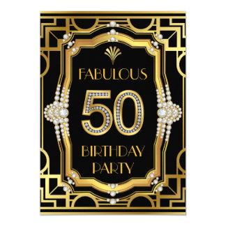 Art Deco Glam Fabulous 50 Birthday Party 13 Cm X 18 Cm Invitation Card