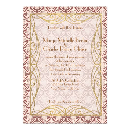 Art Deco Glam Gold Frame Pink Shell Wedding