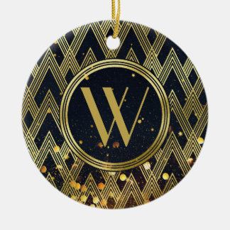 Art Deco Glamorous Geometric Pattern Monogram Christmas Ornament