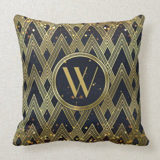 Art Deco Glamorous Geometric Pattern Monogram Cushion