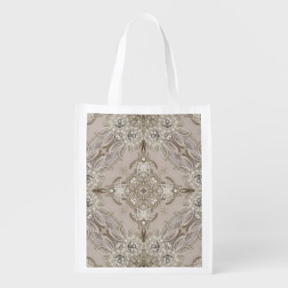 Art Deco Glamorous Great Gatsby Rhinestone Lace Reusable Grocery Bag