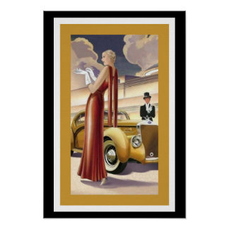 Art Deco Glamour Girl Poster