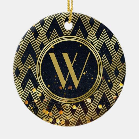 Art Deco Glamourous Geometric Pattern Monogram Christmas Ornament