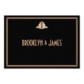 Art Deco Gold Black Great Gatsby Wedding RSVP Card