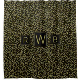 Art Deco Gold Black Monogram Upscale Luxurious Shower Curtain