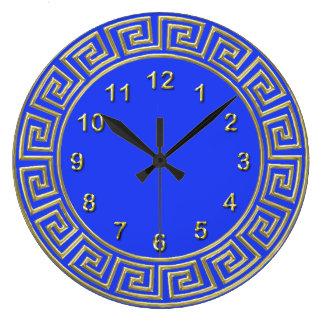 Art Deco Gold Blue Greek Key Border DIY Background Large Clock