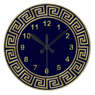 Art Deco Gold Blue Greek Key Border Gold Markers Large Clock