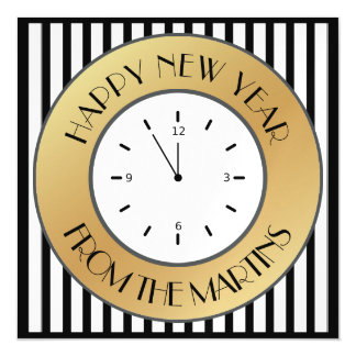 Art Deco Gold Clock and Stripes Happy New Year Magnetic Invitations