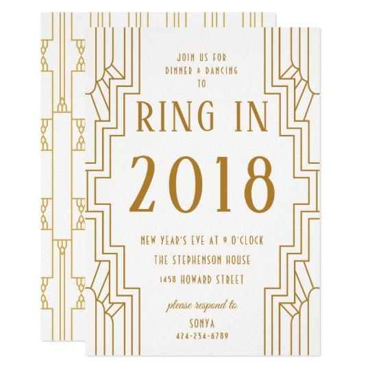 Art Deco Gold Frame New Year's Eve Party