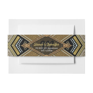Art Deco Gold Glam Belly Bands Invitation Belly Band